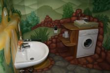 Waschbecken und Waschmaschiene